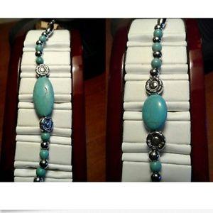 2X New TURQUOISE Boho Bracelets Silver tone Gypsy